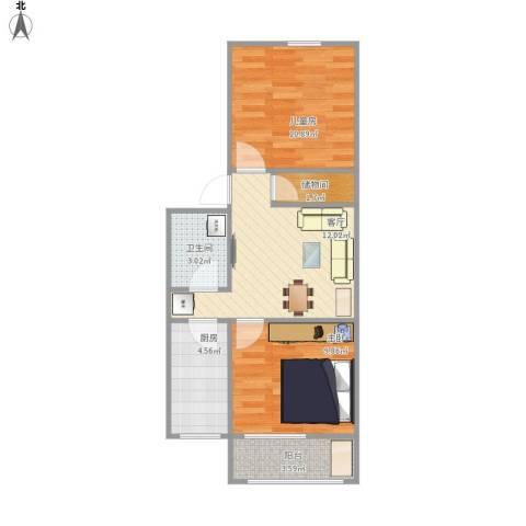中科院中关村小区2室1厅1卫1厨63.00㎡户型图