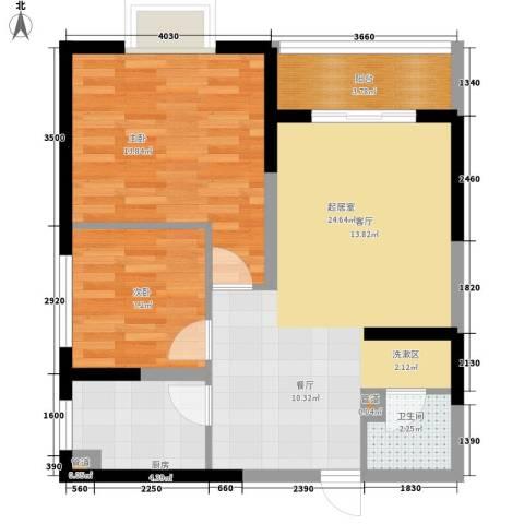 蔚蓝风景2室0厅1卫1厨79.00㎡户型图