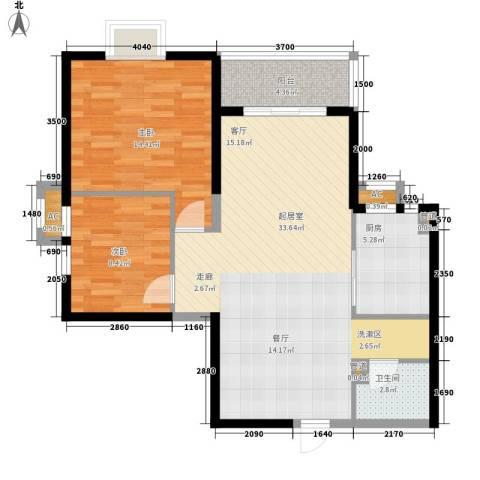 蔚蓝风景2室0厅1卫1厨88.00㎡户型图