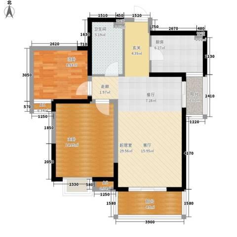 蔚蓝风景2室0厅1卫1厨97.00㎡户型图