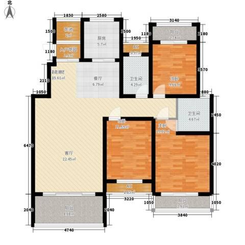 建业桂园3室0厅2卫1厨136.00㎡户型图