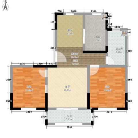 宝华和天下2室1厅1卫1厨88.49㎡户型图