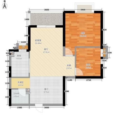 蔚蓝风景2室0厅1卫1厨87.00㎡户型图