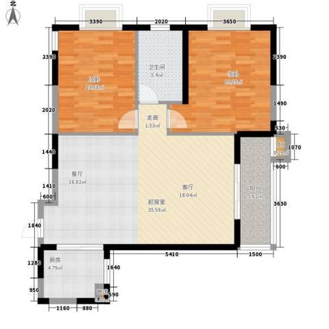 蔚蓝风景2室0厅1卫1厨105.00㎡户型图
