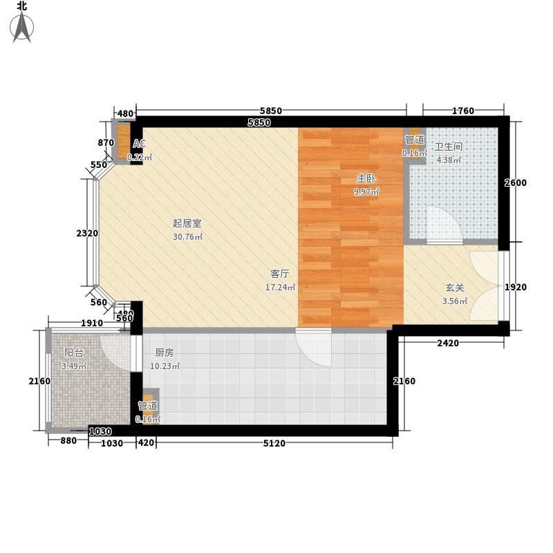 国展新座54.57㎡户型1室1厅1卫1厨