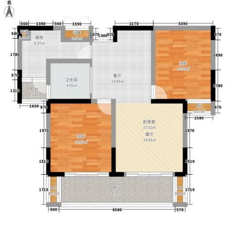 上铁银欣花园2室0厅1卫1厨91.00㎡户型图