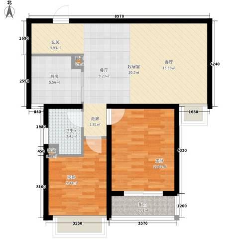 柠檬小镇2室0厅1卫1厨74.00㎡户型图