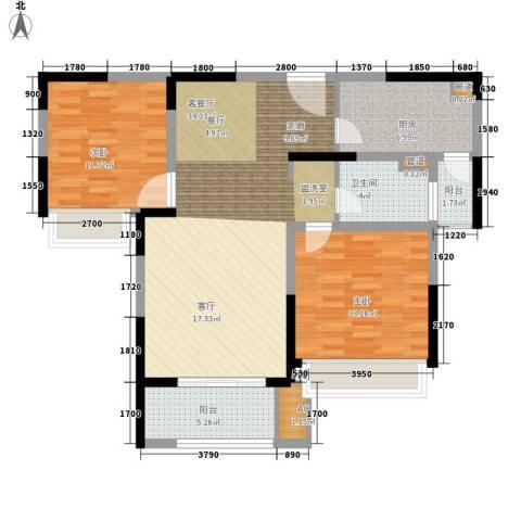 宝华和天下2室1厅1卫1厨90.00㎡户型图
