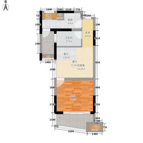 上铁银欣花园1室0厅1卫1厨55.00㎡户型图