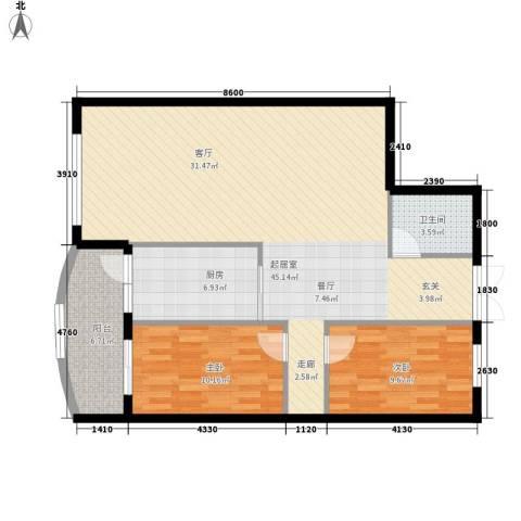 中央经典2室0厅1卫1厨92.00㎡户型图