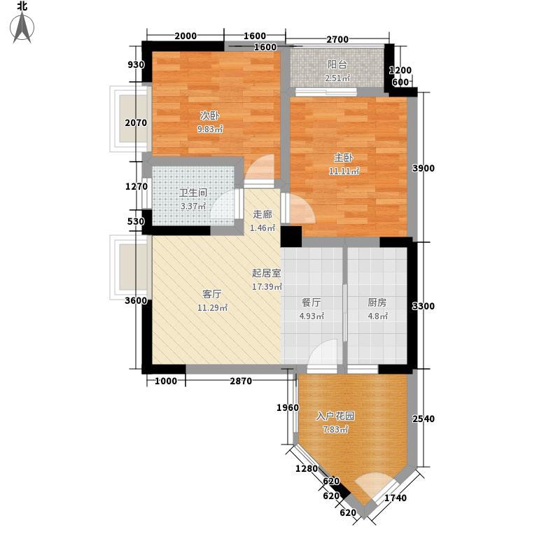 翡翠半岛国际社区70.40㎡一期标准层D4户型2室2厅1卫1厨