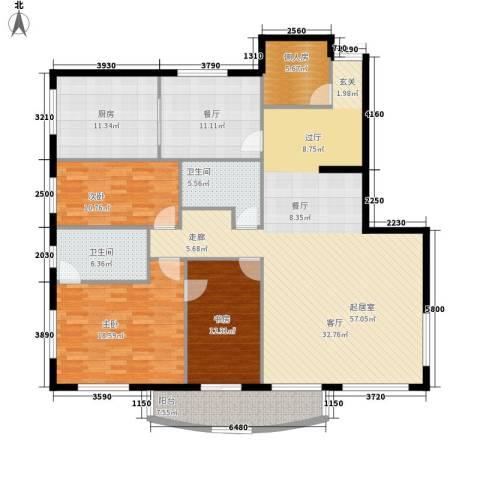 中央经典3室1厅2卫1厨160.00㎡户型图