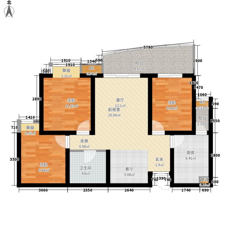 外滩94.00㎡外滩户型图G户型3室2厅1卫1厨户型3室2厅1卫1厨