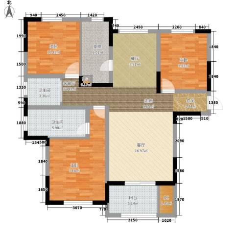 宝华和天下3室1厅2卫1厨109.00㎡户型图