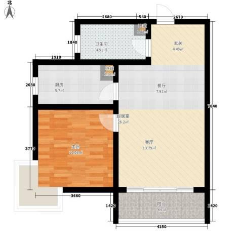 嘉冠尚城1室0厅1卫1厨62.00㎡户型图