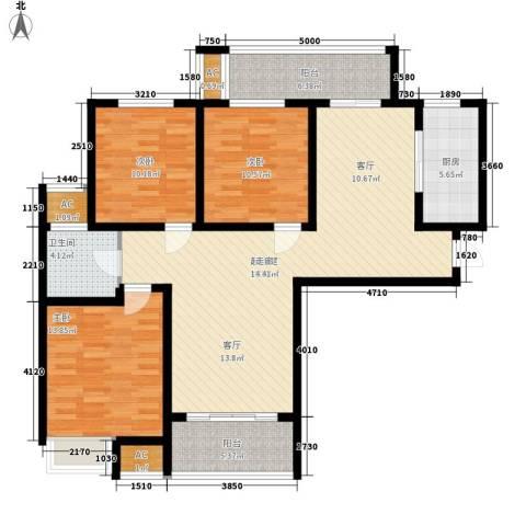 建业桂园3室0厅1卫1厨114.00㎡户型图