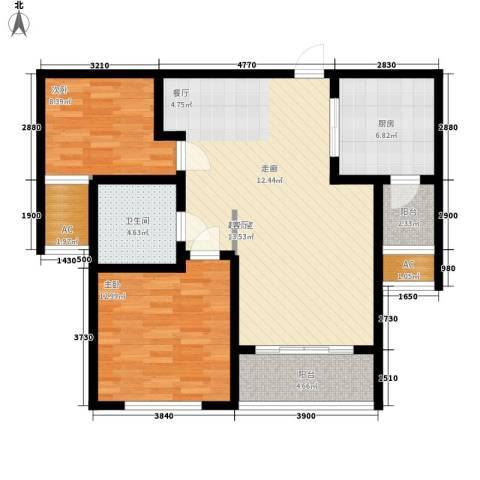 建业桂园2室0厅1卫1厨86.00㎡户型图