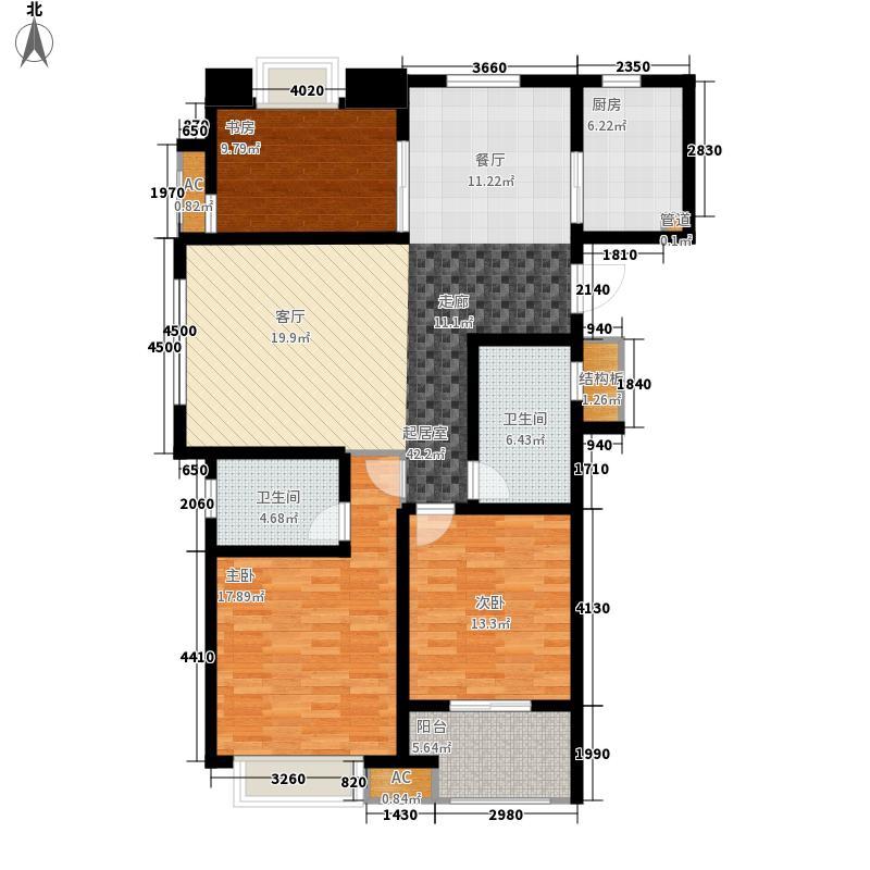 万科金色城市2期125.00㎡B户型3室2厅