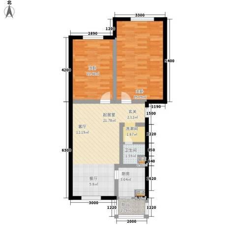 龙城富苑2室0厅1卫1厨73.00㎡户型图
