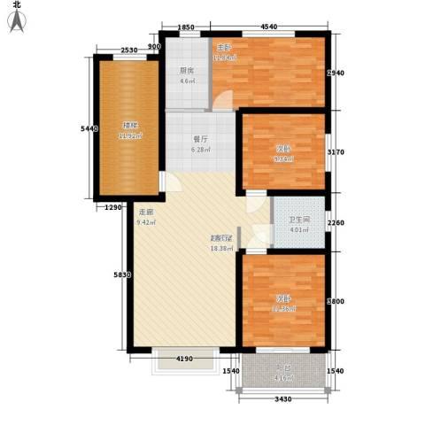 五里华都3室0厅1卫1厨104.00㎡户型图