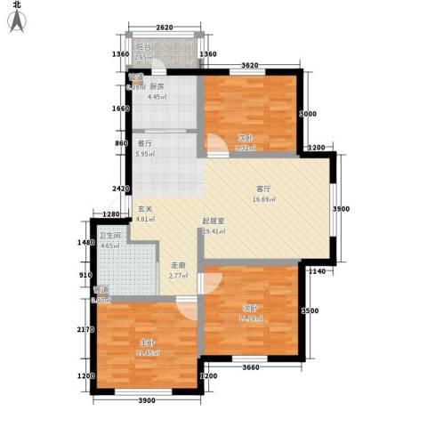 龙城富苑3室0厅1卫1厨97.00㎡户型图