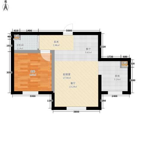 龙城富苑1室0厅1卫0厨50.00㎡户型图