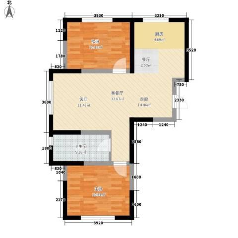 中顺福苑2室1厅1卫0厨75.00㎡户型图