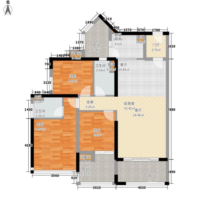 中德英伦联邦88.00㎡B区户型3室2厅2卫1厨