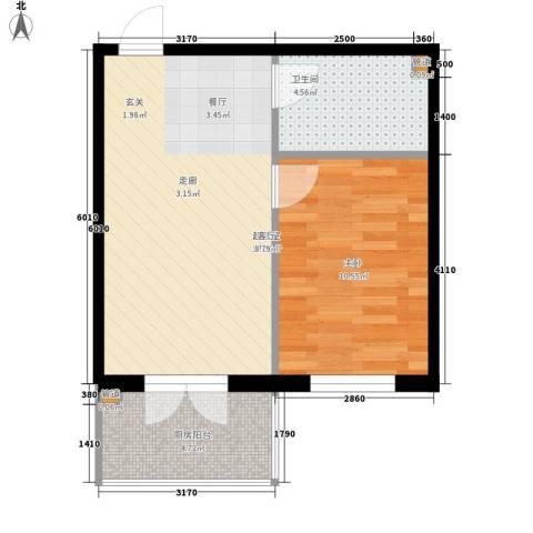 铂宇剑桥郡1室0厅1卫0厨44.00㎡户型图