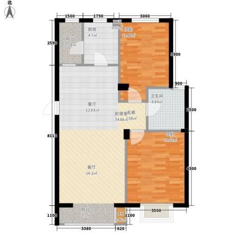 保利花园第五季2室0厅1卫1厨95.00㎡户型图