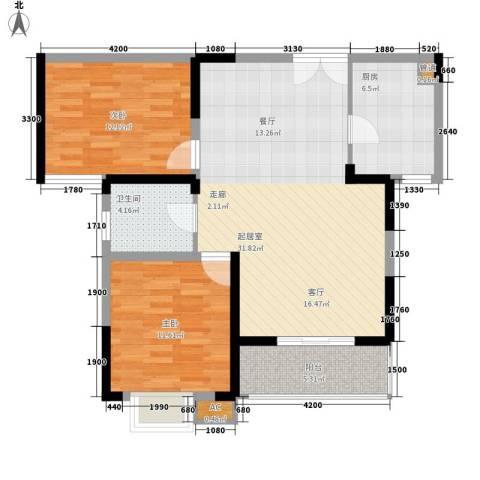 中房怡乐花园二期2室0厅1卫1厨81.82㎡户型图