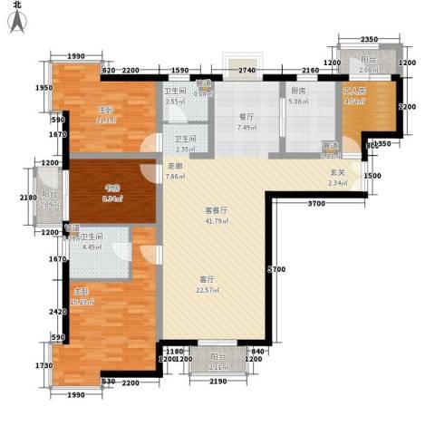 箐英时代3室1厅2卫1厨100.13㎡户型图