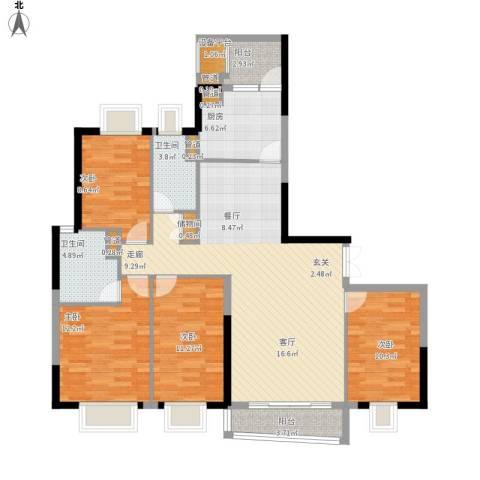 方圆月岛4室1厅2卫1厨147.00㎡户型图