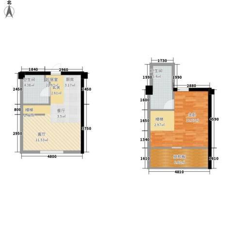 悦泰街里项目1室0厅2卫0厨79.00㎡户型图