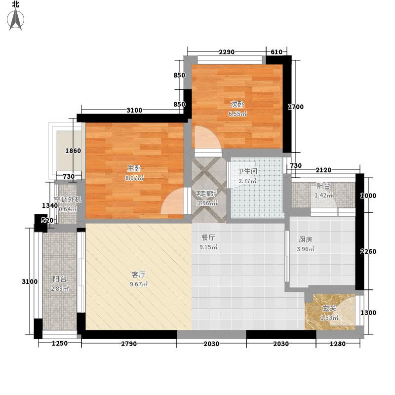 龙光普罗旺斯61.00㎡01户型2室2厅1卫1厨