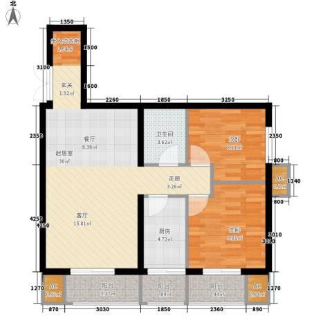 润枫锦尚2室0厅1卫1厨95.00㎡户型图