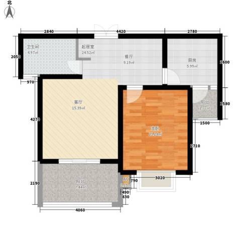 大华阳城五期阳城书院1室0厅1卫1厨67.39㎡户型图