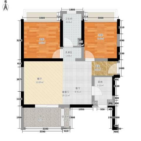 三亚・一山湖2室1厅1卫1厨83.00㎡户型图