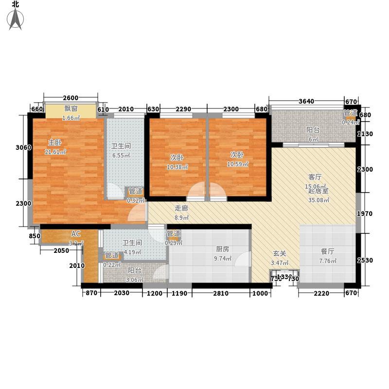 粼江峰阁143.26㎡粼江峰阁户型图C6型3室2厅2卫1厨户型3室2厅2卫1厨