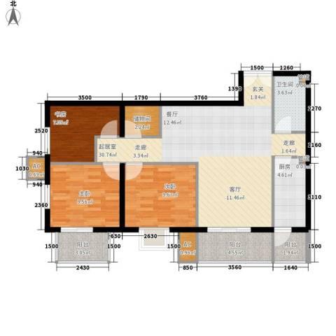 润枫锦尚3室0厅1卫1厨103.00㎡户型图