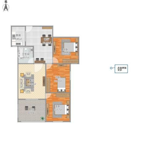 楚河花园3室2厅1卫1厨123.00㎡户型图