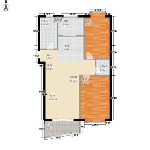 大都文苑风情2室0厅2卫1厨90.36㎡户型图