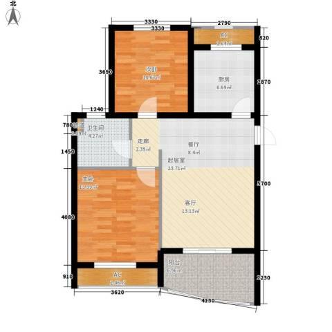 金铭文博水景2室0厅1卫1厨80.00㎡户型图