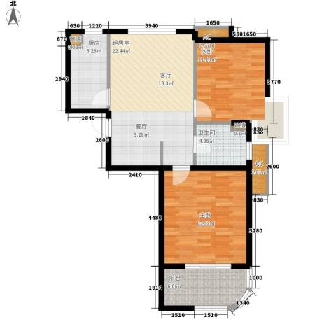 金铭文博水景2室0厅1卫1厨77.00㎡户型图