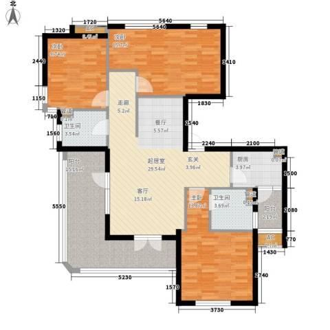 金铭文博水景3室0厅2卫1厨112.00㎡户型图