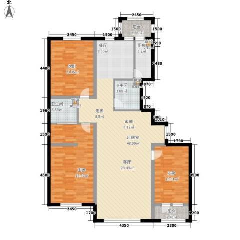 金嘉水岸3室0厅2卫1厨121.57㎡户型图