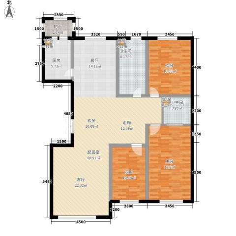 金嘉水岸3室0厅2卫1厨137.03㎡户型图