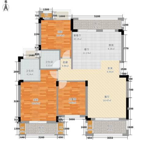 奥园水云间3室1厅2卫0厨103.07㎡户型图