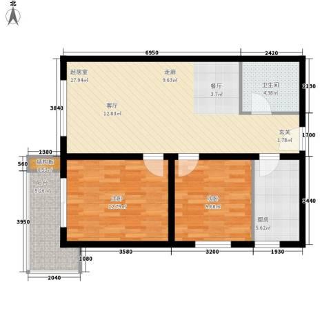皇族名居2期2室0厅1卫1厨88.00㎡户型图