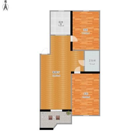 雅居园2室1厅1卫1厨129.00㎡户型图